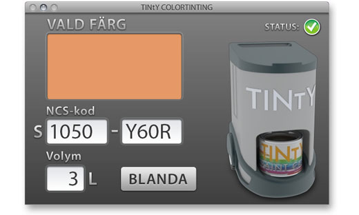 Tinty software mockup